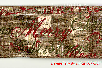 Hessian Ribbon Wired Merry Christmas  60mm Width Luxury Club Green Collection