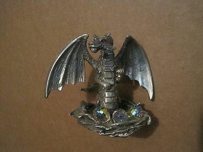 Pewter Winged Dragon Figurine With Crystal Eggs