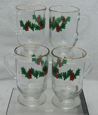 """VINTAGE LIBBY GLASS HOLIDAY PEDESTAL 5"""" COFFEE CUPS SET OF 4"""