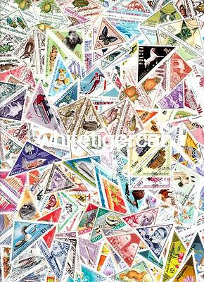 200 TRIANGLES (3-sided stamps) many nice sets and large size !! all different