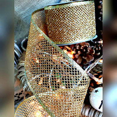 63mm Wired Glitter Gold Mesh Ribbon. Christmas, Wedding. Cake wrap, Wreath, Tree