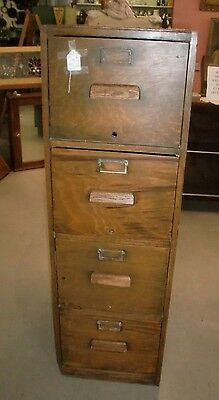Old Finish Oak 4 drawer Office File Cabinet with Panel Sides As Found