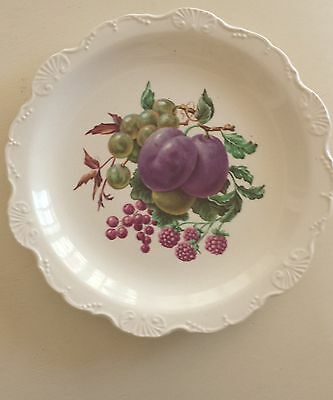 JAMES KENT LTD #5171 VINTAGE Plate Plums, Berries Scalloped  LONGTON, ENGLAND 9""