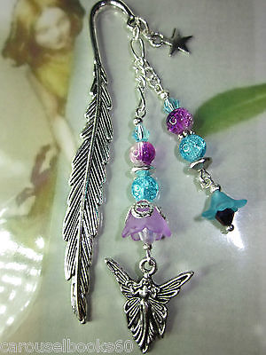 Beaded Bookmark Fairy Fairies Flowers Handmade Silver Designs Gift Idea