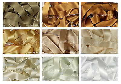 Double Satin Ribbon Berisfords Neutral Shades 8 Widths Short Lengths / Full Reel