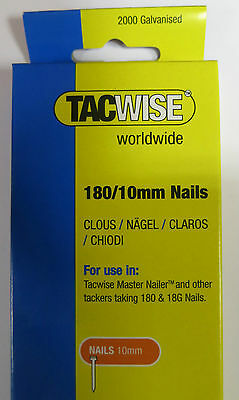 2000 pack TACWISE/Stanley/Rapid 180/10mm 18gauge Nails 191EL Nailer/Staple guns