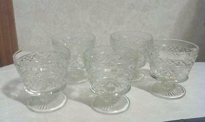 Vintage set 5 clear Glass footed Low Sherbet's  Custard or fruit cups