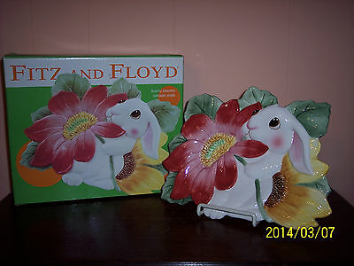 """FITZ AND FLOYD """"BUNNY BLOOMS"""" CANAPE PLATE NIB 2002"""