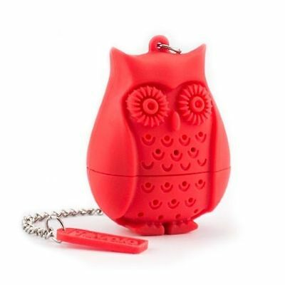 Tovolo Owl Loose Tea Infuser Filter Novelty Perforated Red Silicone Bird Gift