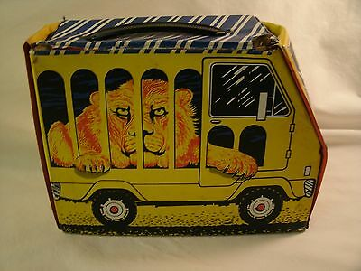 Rare Vintage 1960's Vinyl See N' Keep Tiger / Lion in Circus Truck Lunch Box