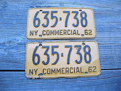 1962 62 New York Ny License Plate Pair Nice Set - Commercial Truck Trk