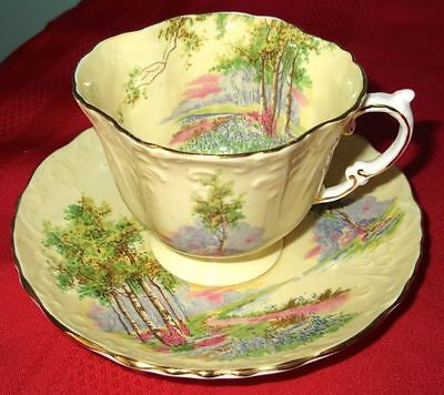 Aynsley Fancy Yellow with Landscape Pattern Bone China Cup And Saucer 1934-1939s