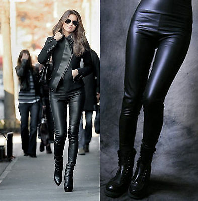 High Waist Women Faux Leather Stretch Skinny Pants Leggings Black Tight trousers