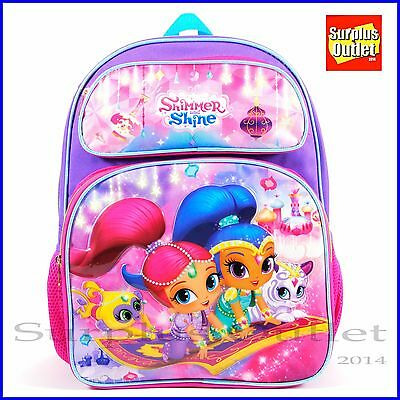 "Shimmer and Shine 16"" Large School Backpack Girls Book Bag Nickelodeon"