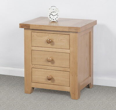 Solid Wood Chunky Oak 3 Drawer Bedside Cabinet Table Unit