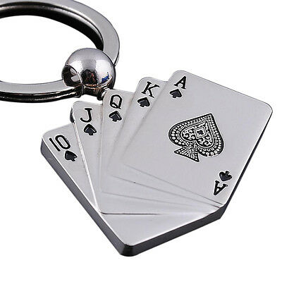 PF Male Personality Metal Key Chain Key Ring Gift For Car Motor Poker Keychain