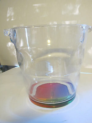 Clear Ice Bucket with Rainbow Bottom. Unique. New.