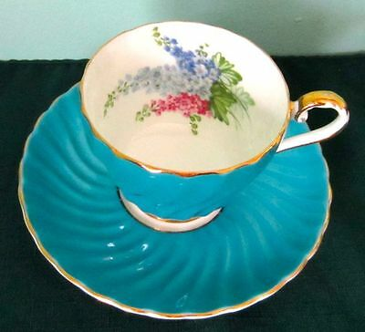 Aynsley Fancy Delphiniums Turquoise Blue Bone China Tea Cup And Saucer 1940s