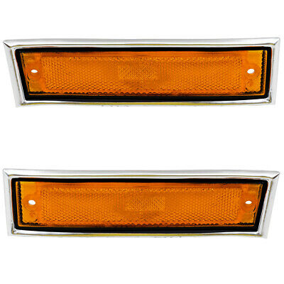 New Pair Front Signal Side Marker Light w/ Chrome 81-91 GMC Chevy Pickup Truck