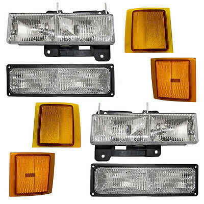 New 8 Piece Set Headlight & Signal Marker Light Assembly Chevy SUV Pickup Truck