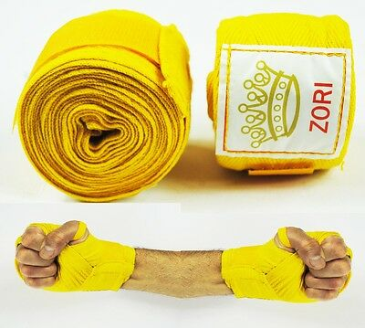 100% Cotton Hand Wraps [YELLOW] For Boxing MMa Muay Thai Bandages (Pair) - New