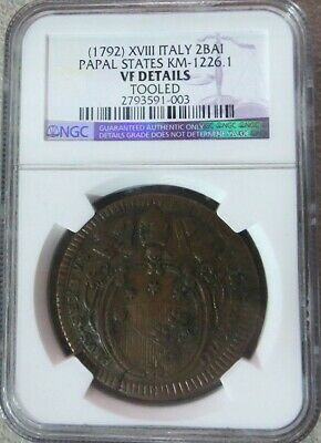 (1792) Xviii Papal States Italian State 2 Baiocchi, Muraiola Ngc Vf Details