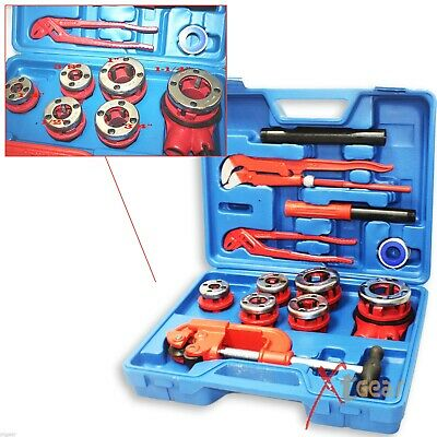 10PC Manual 6 Threading Dies Pipe Cutter & Wrenches Kit Ratchet Pipe Threader