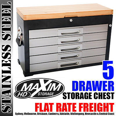 MAXIM 5 Drawer Tool Box Timber Garage Storage Chest Toolbox Cabinet Workshop