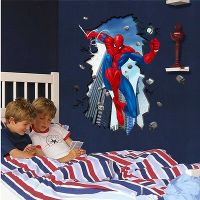 3D Spiderman Wall Sticker Child Room Decor Boy Bedroom Decal Art Removable Mural