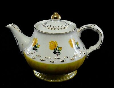 Wood & Sons Vintage Ironestone Teapot, c. late 1940's, Yellow Roses