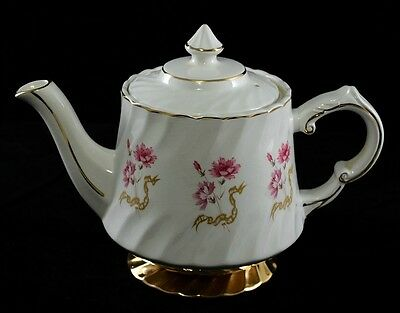 Wood & Sons Vintage Ironestone Teapot, c. Late 1940's, Pink Cloves