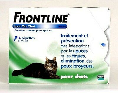 Merial - Frontline chat spot on 4 pipettes - Frontline Spot-On Chat 4 NEUF