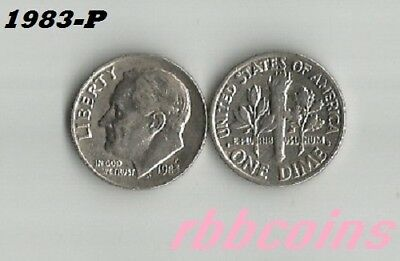 1983-P Roosevelt Dime - I Have All P-D-S Clad Dimes Listed