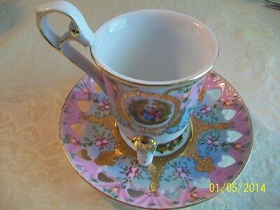 Vintage china KPM Footed cup saucer Victorian Couples pink blue gold