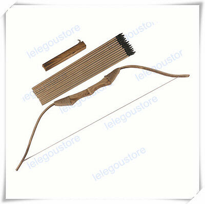 Wooden Bow + 12 Arrows with A Quiver Children Kids Archery For Hunting Toy Gift