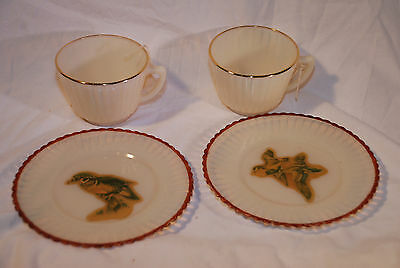 4 PC LOT Macbeth Evans Opalescent Petalware teacups gold band w luncheon plates