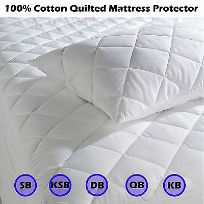100% Cotton Quilted Fitted Mattress Protector Topper Underlay - Hypoallergenic