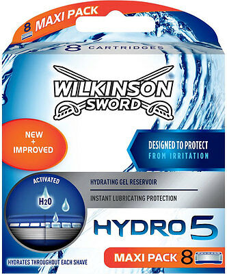 8 Wilkinson Sword Hydro 5 Blade - Mens Razor Blades - 8 Pack h20 NEW