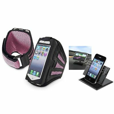 Black/Pink Sportband Cover+Car Dashboard Cradle For Apple iPod Touch 5 5G 5th