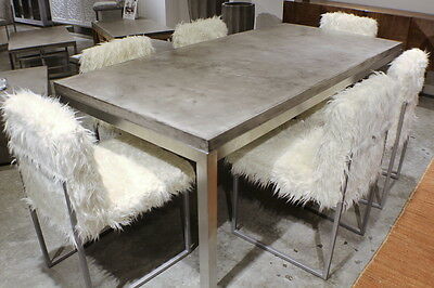 "83"" spectacular dining table desk solid concrete slab top stainless steel legs"