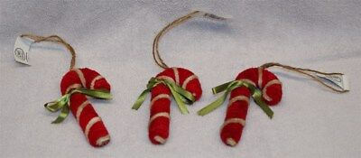 Vintage Style Chenille Candy Cane Ornament (Set Of 3) New!