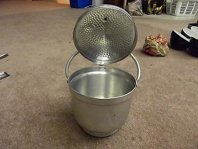 Vintage mid-century Hammered Aluminum Ice Bucket Tub Attached LID Made in Italy