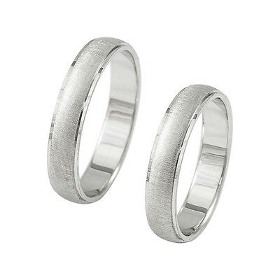 14k Solid Gold His and Hers Brushed Wedding Bridal Band Rings Set