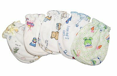 Mix Cartoon 5 Pairs Cotton Newborn Baby/infant Against-Grasping Gloves/ Mittens