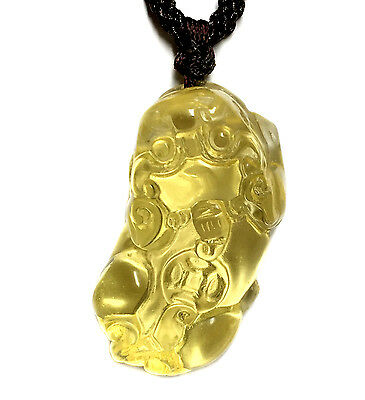 Feng Shui Citrine yellow crystal Pi Yao /Xiu/Xie Necklace Pendant amulet wealth