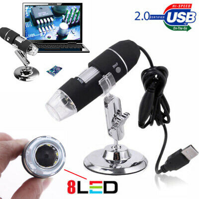 USB2.0 Digital Microscope Endoscope 1000X 2MP 8LED Magnifier Camera + Lift Stand