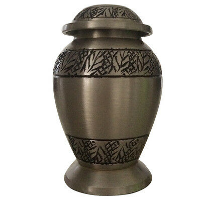 Classic Pewter Leaves Small Keepsake Urn for Ashes, Funeral Cremation Urn UK