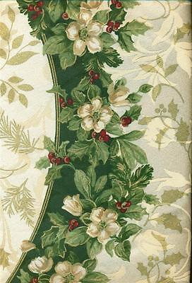 TABLECLOTH JOYOUS HOLIDAY 70 ROUND GREEN GOLD BURGUNDY