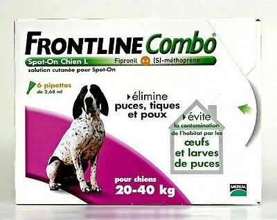 Merial - FRONTLINE COMBO Grand chien 20-40kg - 6pip - Anti-puce, NEUF