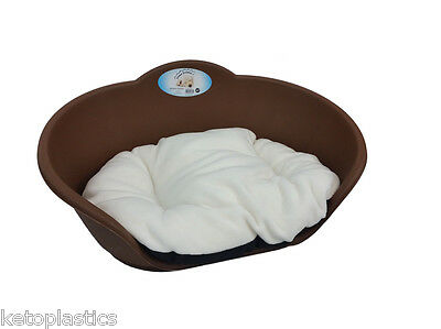 Heavy Duty BROWN Pet Bed With WHITE Cushion UK MADE Dog Cat Basket Plastic